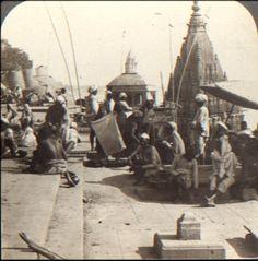 A Suttee pillar at a Benares burning Ghat, where Hindu widows died on their husbands funeral pyre.