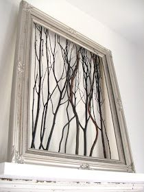 Cleverlyinspired: Garage Sale Frame  + tree branch trimmings = art!