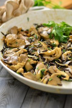 Wild Rice with Oyster Mushrooms- vegan if you use Earth Balance & veggie stock