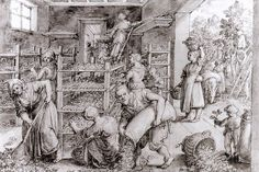 Giovanni Stradano (1523-1605) - Allevamento dei bachi da seta - 1580 - Incisione - Royal Collection, Windsor