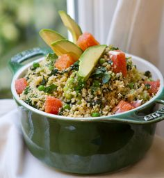 Salad - Whole wheat couscous is studded with sweet green peas, kale, broccoli, zesty red onion - tender avocado and juicy cara cara oranges on top.  Love the Cara Cara Oranges!!!