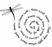 squeeze a long quote in a small space with spiral. also answers the question of which way is up when on the foot.