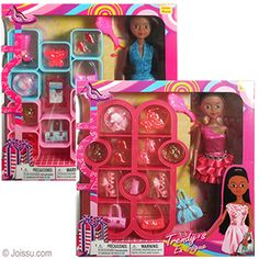 ETHNIC 22 PIECE TRENDY'S FASHION SETS. With a fashionably dressed doll, shoes, boots and all the clothing accessories that a girl could want, these are a play date in a box. Set includes a doll-sized shelving unit. Doll is pose-able at the neck, shoulders and hips. Outfits are interchangeable. Assorted colors and styles. Each play set window boxed. Each play set window boxed. Size 12.5 Inch doll, packaging 13 X 12 X 2.5 Inches