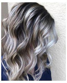 Grey Blonde Hair, Long Gray Hair, Silver Blonde, Brown Hair Going Grey, Ash Grey Hair, Purple Hair, Grey Hair Lowlights, Brown Hair With Silver Highlights, What Are Lowlights