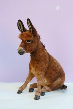 Custom Furred Breyer Donkey Miniature by heartfeltcanines on DeviantArt Needle Felted Animals, Felt Animals, Bryer Horses, Animal Templates, Baby Animals Pictures, Needle Felting Tutorials, Unusual Animals, Cute Horses, Felt Toys