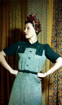 WWII Fashion: February 1943, Model wearing a dress. Green Park is the colour and herringbone allies with plain yoke. The dress costs 60 shillings to buy (Photo by James Jarche/Popperfoto/Getty Images)