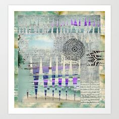 Blue Grey Abstract Art Collage Art Print by Sheree Joy Burlington - $18.00