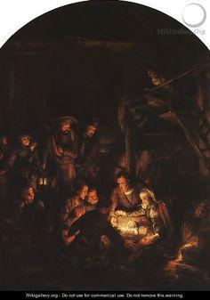 "Rembrandt Adoration of the Shepherds 1646"" oil on Canvas, location: Alte Pinakothek, Munich, Bavaria, Germany."