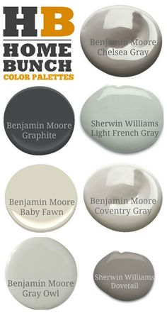 Neutral paint colors recommended by Home Bunch blog. Benjamin Moore Chelsea Gray. Benjamin Moore Graphite. Sherwin…