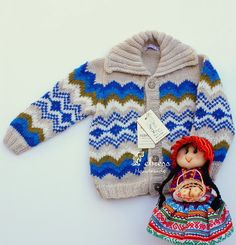 ALPACA wool,Children jacket 2 to 5 years old, jacquard jacket, hand knitted sweater, Febress.