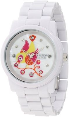 Diamond Dial Bird Theme White Corn Resin Bracelet Bio-Degradable Watch