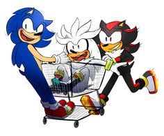 """Can anyone else see where this is going?<--- Shadow: """"Sonic move your head I can't see where we're going."""" Silver: """"Wait what."""" Sonic: """"Ah Shads we're fine..."""" CRASH """"Never mind."""""""