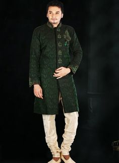 Hunter Green embroidered wedding sherwani in Chanderi Silk and Brocade Fabric. #wedding #ShalwarKameez #Designer #Pakistani #Suits #GroomMens #menswear #AsianClothes #India #Reception #Fashion #Punjabi #Style #IndianGroom #GroomSuit #Pants #Jackets #Silk #Navy #Black #Dresses #Embroidery #Bollywood