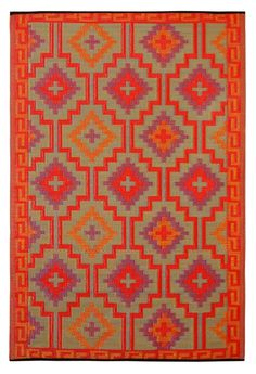 Tangiers Kelim Reversible Indoor/Outdoor Rug, Flame | Lulu and Georgia