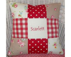 Gorgeous red spot, floral and gingham name cushion! Personalise with a name of your choice.