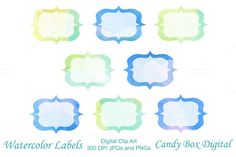 Watercolor Digital Labels by Candy Box Digital on Creative Market. Great for…