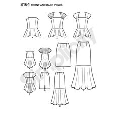 Misses' special occasion two piece dress features peplum top with princess seams that can either be strapless or have a self or lace yoke. Skirt can be slim and knee length, or have flared lower skirt.  Simplicity sewing pattern, Fit for Petite.