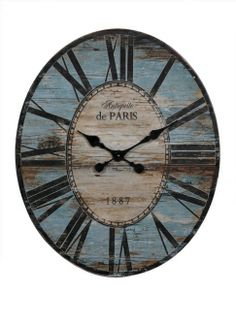 Blue Oval Wood Wall Clock - Harvest Home Stores