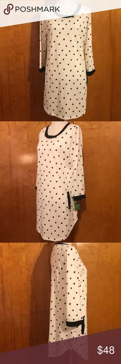 🌟NWT Kate Spade Sleep Shirt/Night Gown. Large Adorable & NWT Kate Spade Sleep Shirt/Night Gown Black & White w/ Hearts! Large kate spade Tops