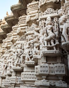 Sculptures and reliefs on the Jain temples in Palitana, India. Palitana is a small town in Gujarat state, and one of the holiest Jain religious sites in India.