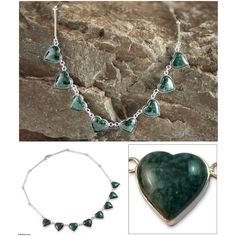 NOVICA Jade heart necklace ($157) ❤ liked on Polyvore featuring jewelry, necklaces, green, pendant, heart shaped pendant necklace, jade pendant, heart shaped necklace, green necklaces and jade jewelry