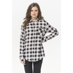 Black & white checkered button down shirt - Fashion Tops - Tops - Clothing Off Shoulder Fashion, Shirt Blouses, Shirts, Ladies Dress Design, Shirt Shop, Shirt Outfit, Gingham, Shirt Style, Latest Trends