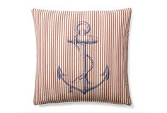 One Kings Lane - Dreaming of the Sea - Anchor 20x20 Cotton Pillow, Multi
