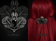 #gothic #goth #victorian #steampunk #jewelry #fashion #skull #rose #iron gate #cat skull #bat skull #moth #vampire #aristocrat #gothic lolita #lolita #elegant gothic aristocrat #snake #Avalon  Gothic 'Snakes of Avalon' hairclip designed by me for www.Restyle.pl #gothicjewelry #gothjewelry #darkjewelry #horrorjewelry