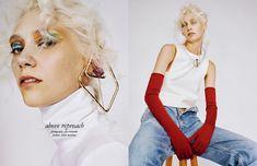 Top / Stylist Own Brooch / John Galliano Opposite Top /Fendi Denim /Vintage Levi's Arm Globe / Mm6 Maison Margiela Necklace / Stylist Own