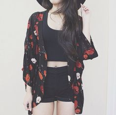 floral kimono, black crop top, black high waisted shorts