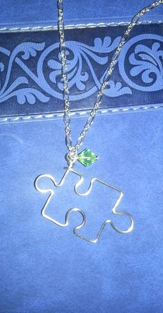 Silver Plated Puzzle Piece Wire Necklace- Optional Birthstone/ Autism Awareness