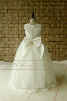 Marfil encaje tul flores niña vestido de por Weddingcollection