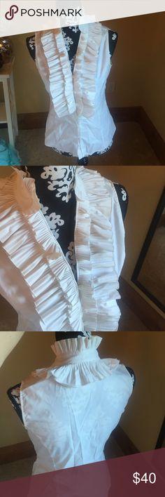 Ruffles Sleeveless Blouse White button up sleeveless blouse, big ruffle detail ANTONIO MELANI Tops Button Down Shirts