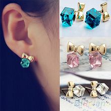 Shimmer Chic Gold Bowknot Cube Crystal Earring Gold Tone GP Stud Earrings for Women Lady 02YW(China (Mainland))