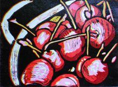 9x12 Bowl of Cherries Linocut Print by HoganArtHouse on Etsy, $65.00