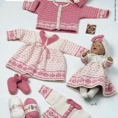 Knitting Dolls Clothes, Knitted Dolls, Doll Clothes Patterns, Clothing Patterns, Baby Born Clothes, Bitty Baby Clothes, Baby Knitting Patterns, Knitting Designs, Girl Dolls