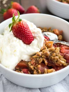 This easy Strawberry Rhubarb Crisp is the perfect summer dessert! Easier to make than pie, prepped in just minutes and so delicious.