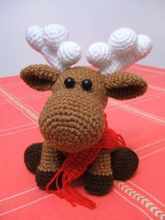 Crochet Moose - Tutorial, not in English but looks like single crochet so I could probably figure it out.