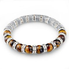 Tiger Eye Natural Stone Bracelets For Women And Men Jewelry Silver Beads Friendship Charm Bracelets & Bangles Nomination Gifts