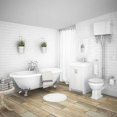 SHOP the Chatsworth High Level Grey Roll Top Bathroom Suite at Victorian Plumbing UK White Vanity Unit, Gray Vanity, Vanity Units, Traditional Bathroom Suites, Master Suite Bathroom, Design Bathroom, Master Bath, Double Ended Bath, Bohinj