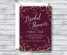 Merlot Gold Bridal Shower Invitation Burgundy by NorthwestDesignCo