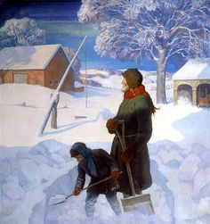 """""""Snowbound"""" 1928 -- by N. Wyeth (American, National Museum of American Illustration Jamie Wyeth, Andrew Wyeth, Snow Scenes, Winter Scenes, American Illustration, Illustration Art, Art Illustrations, Nc Wyeth, Portraits"""