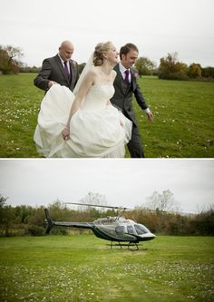 Fun & exciting helicopter wedding bride and groom exit! What a neat idea!