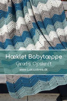 Gratis hækleopskrift på hæklet babytæppe / hæklet zigzag tæppe . Nem hækleopskrift samt videotutorial. Crochet Baby, Knit Crochet, Baby Afghans, Diy Baby, Diy And Crafts, Just For You, Quilts, Blanket, Sewing