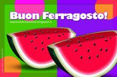 Auguri di Buon Ferragosto con due succulente angurie! Cartolina da scaricare gratis!
