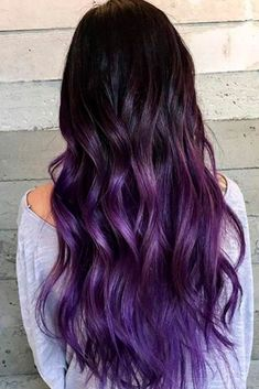 Vibrant hair color for dark hair - ombre for dark hair - black to purple hair color - h . - Vibrant Hair Color for Dark Hair – Ombre for Dark Hair – Black to Purple Hair Color – toptren - Hair Tips Dyed Purple, Purple Black Hair, Blonde Ombre Hair, Best Ombre Hair, Hair Dye Tips, Hair Color Purple, Hair Color For Black Hair, Balayage Hair, Dark Hair