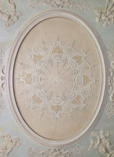 Detail of the ceiling in the Saloon at Clandon Park, Surrey.