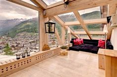 Switzerland Ski Chalet in Spring -- A sunny attic lookout; Beautiful Timbers
