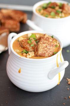 Thai sweet potato peanut soup with grilled peanut butter croutons - Vegan