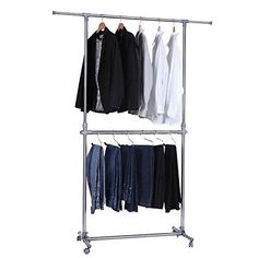 Garment Rack Double Rod Portable Hanger Closet Organizer Storage Rail Wardrobe